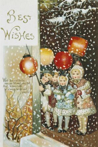 Christmas Lanterns--Stretched Canvas Print