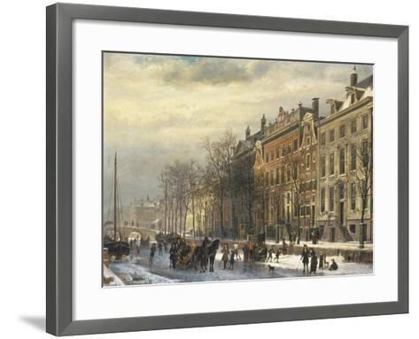 View on the Herengracht Along the Amstel at Amsterdam-Cornelis Springer-Framed Art Print