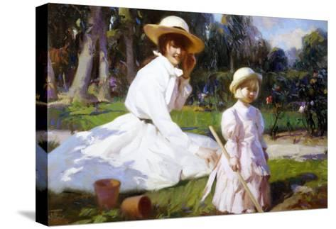 Her Own Garden-John Richard Townsend-Stretched Canvas Print