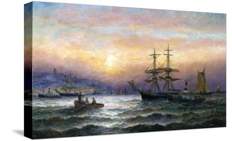 Shipping in the Mouth of the Medway, Evening-Charles Thorneley-Stretched Canvas Print