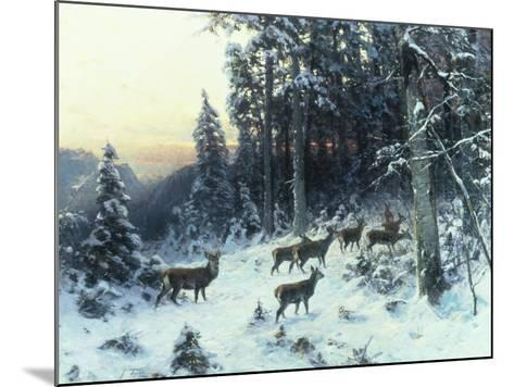 Deer in a Snowy Wooded Landscape-Arthur Julius Thiele-Mounted Giclee Print