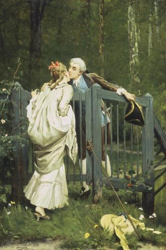 The Kiss-Auguste Serrure-Stretched Canvas Print