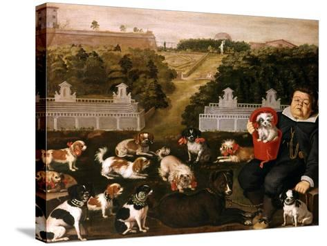 Dogs Belonging to the Medici Family in the Boboli Gardens-Tiberio Di Tito-Stretched Canvas Print