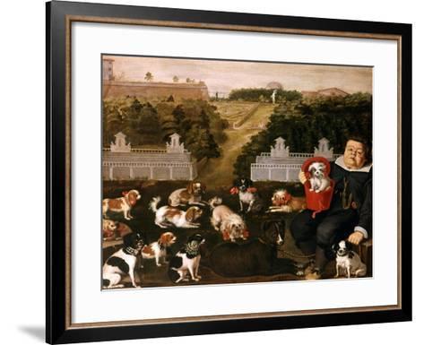 Dogs Belonging to the Medici Family in the Boboli Gardens-Tiberio Di Tito-Framed Art Print