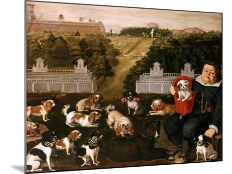 Dogs Belonging to the Medici Family in the Boboli Gardens-Tiberio Di Tito-Mounted Giclee Print