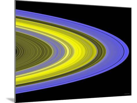 False-Color Image of Saturn's Main Rings Made Using Cassini's Ultraviolet Imaging Spectrograph-Stocktrek Images-Mounted Photographic Print