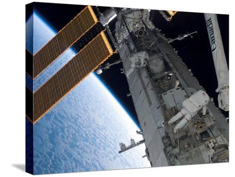 STS-118 Astronaut, Construction and Maintenance on International Space Station August 15, 2007-Stocktrek Images-Stretched Canvas Print