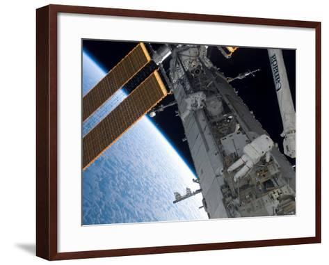 STS-118 Astronaut, Construction and Maintenance on International Space Station August 15, 2007-Stocktrek Images-Framed Art Print