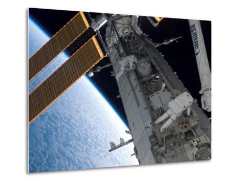 STS-118 Astronaut, Construction and Maintenance on International Space Station August 15, 2007-Stocktrek Images-Metal Print