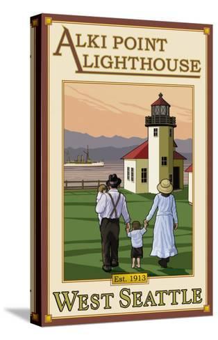 Alki Point Lighthouse, Seattle, Washington-Lantern Press-Stretched Canvas Print