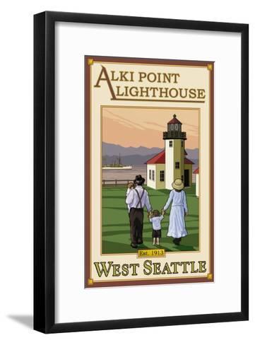 Alki Point Lighthouse, Seattle, Washington-Lantern Press-Framed Art Print