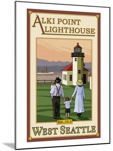 Alki Point Lighthouse, Seattle, Washington-Lantern Press-Mounted Art Print
