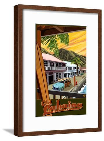 Old Lahaina Fishing Town with Surfer, Maui, Hawaii-Lantern Press-Framed Art Print
