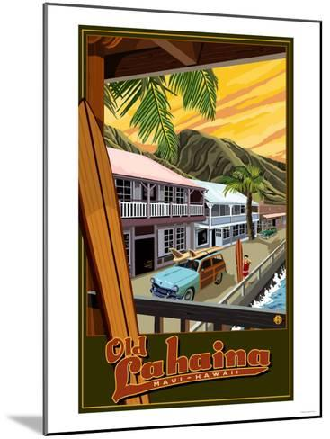 Old Lahaina Fishing Town with Surfer, Maui, Hawaii-Lantern Press-Mounted Art Print