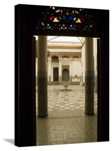 Interior Courtyard, Musee De Marrakech, Marrakech, Morocco-Walter Bibikow-Stretched Canvas Print