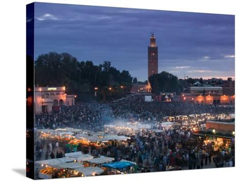 Koutoubia Mosque, Djemma El-Fna Square, Marrakech, Morocco-Walter Bibikow-Stretched Canvas Print