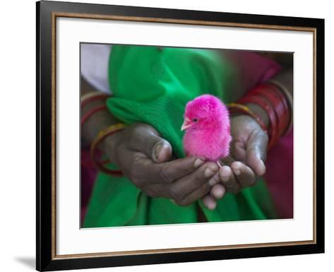 Woman and Chick Painted with Holy Color, Orissa, India-Keren Su-Framed Art Print