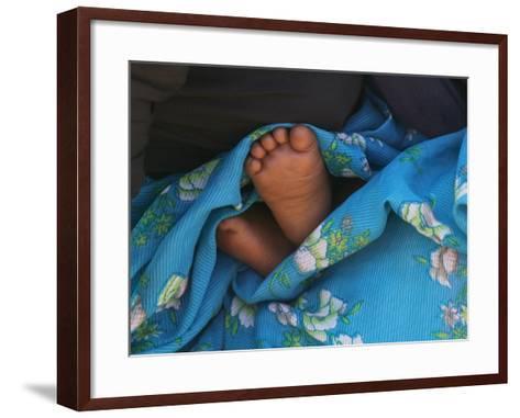 Child's Feet Wrapped with Sari at Kunbuli Friday Market, Orissa, India-Keren Su-Framed Art Print