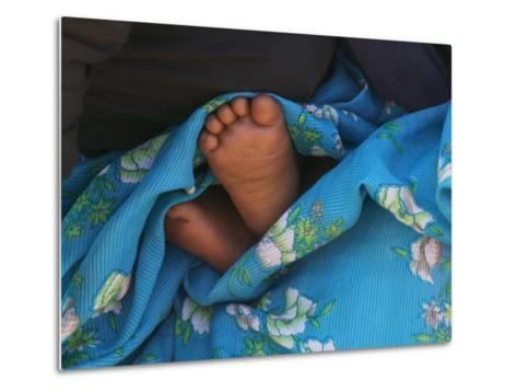 Child's Feet Wrapped with Sari at Kunbuli Friday Market, Orissa, India-Keren Su-Metal Print