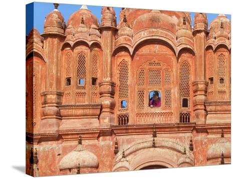 Tourist by Window of Hawa Mahal, Palace of Winds, Jaipur, Rajasthan, India-Keren Su-Stretched Canvas Print