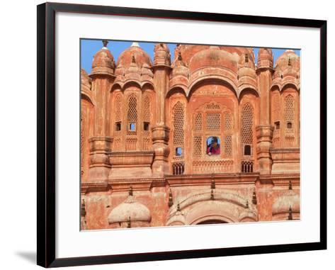 Tourist by Window of Hawa Mahal, Palace of Winds, Jaipur, Rajasthan, India-Keren Su-Framed Art Print