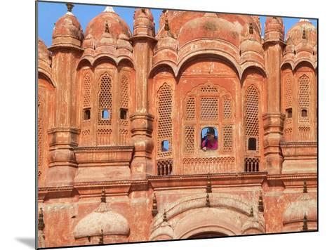 Tourist by Window of Hawa Mahal, Palace of Winds, Jaipur, Rajasthan, India-Keren Su-Mounted Photographic Print