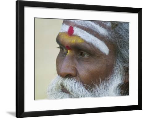 Portrait of a Holy Man, Varanasi, India-Keren Su-Framed Art Print
