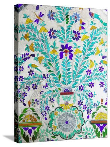 Decorated Tile Painting at City Palace, Udaipur, Rajasthan, India-Keren Su-Stretched Canvas Print