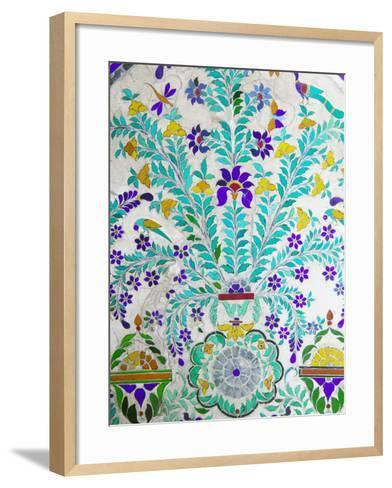 Decorated Tile Painting at City Palace, Udaipur, Rajasthan, India-Keren Su-Framed Art Print