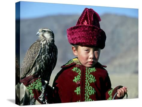Young Boy Holding a Falcon, Golden Eagle Festival, Mongolia-Amos Nachoum-Stretched Canvas Print