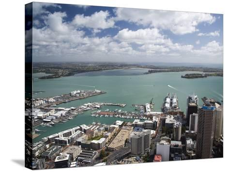 View of Waitemata Harbor from Skytower, Auckland, North Island, New Zealand-David Wall-Stretched Canvas Print