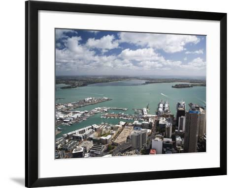 View of Waitemata Harbor from Skytower, Auckland, North Island, New Zealand-David Wall-Framed Art Print