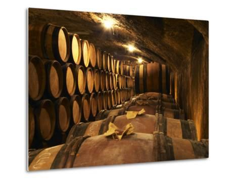 Wooden Barrels with Aging Wine in Cellar, Domaine E Guigal, Ampuis, Cote Rotie, Rhone, France-Per Karlsson-Metal Print