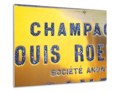 Polished Brass Sign at Winery of Louis Roederer, Reims, Champagne, Marne, Ardennes, France-Per Karlsson-Metal Print