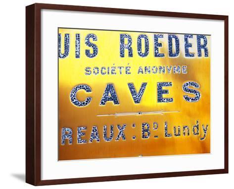 Polished Brass Sign at Winery of Louis Roederer, Reims, Champagne, Marne, Ardennes, France-Per Karlsson-Framed Art Print