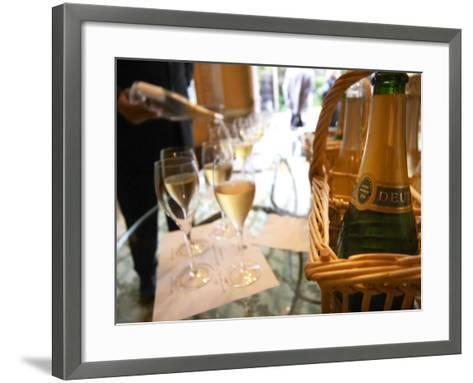 Bottle of Deutz Champagne in Wicker Basket at Champagne Deutz, Ay, Vallee De La Marne-Per Karlsson-Framed Art Print