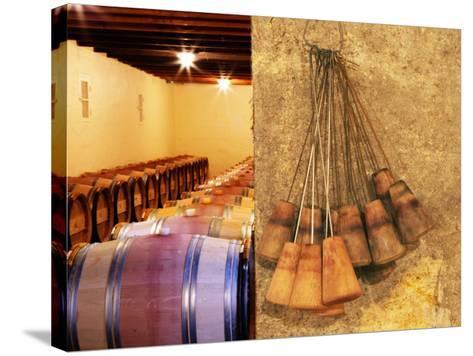 Barrel Cellar for Aging Wines in Oak Casks, Chateau La Grave Figeac, Bordeaux, France-Per Karlsson-Stretched Canvas Print
