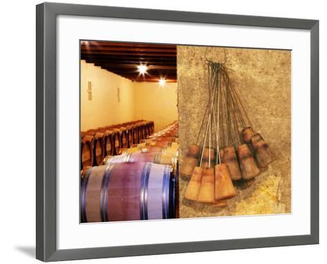 Barrel Cellar for Aging Wines in Oak Casks, Chateau La Grave Figeac, Bordeaux, France-Per Karlsson-Framed Art Print