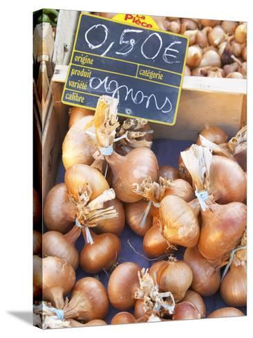 Onions at Market Stall, Bergerac, Dordogne, France-Per Karlsson-Stretched Canvas Print