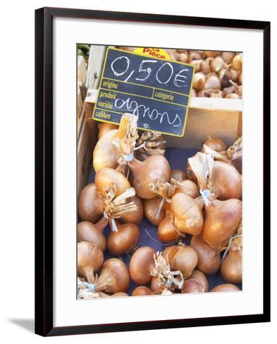 Onions at Market Stall, Bergerac, Dordogne, France-Per Karlsson-Framed Art Print