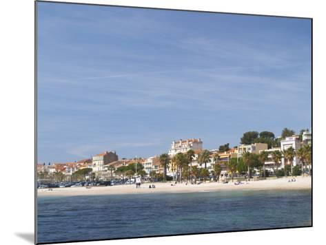 Beach with Palm Trees Along Coast in Bandol, Cote d'Azur, Var, France-Per Karlsson-Mounted Photographic Print