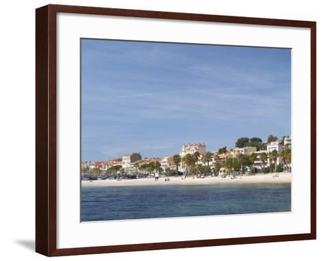 Beach with Palm Trees Along Coast in Bandol, Cote d'Azur, Var, France-Per Karlsson-Framed Art Print