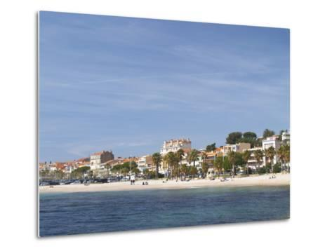 Beach with Palm Trees Along Coast in Bandol, Cote d'Azur, Var, France-Per Karlsson-Metal Print