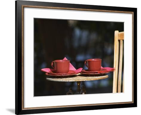 Table with Coffee and Teak Deck Garden Chair, Clos Des Iles, Le Brusc, Var, Cote d'Azur, France-Per Karlsson-Framed Art Print