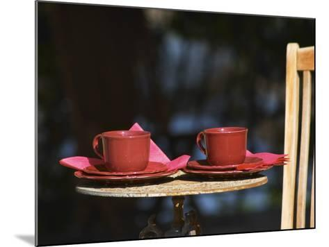 Table with Coffee and Teak Deck Garden Chair, Clos Des Iles, Le Brusc, Var, Cote d'Azur, France-Per Karlsson-Mounted Photographic Print