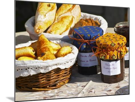 Wicker Basket with Croissants and Breads, Clos Des Iles, Le Brusc, Var, Cote d'Azur, France-Per Karlsson-Mounted Photographic Print