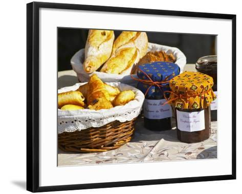 Wicker Basket with Croissants and Breads, Clos Des Iles, Le Brusc, Var, Cote d'Azur, France-Per Karlsson-Framed Art Print