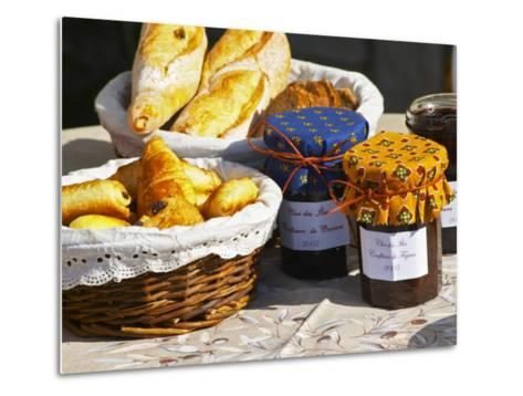 Wicker Basket with Croissants and Breads, Clos Des Iles, Le Brusc, Var, Cote d'Azur, France-Per Karlsson-Metal Print