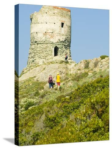 Family Walking in Blooming Maquis to Genoese Tower, Le Sentier Des Douaniers, Cap Corse-Trish Drury-Stretched Canvas Print