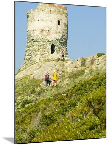 Family Walking in Blooming Maquis to Genoese Tower, Le Sentier Des Douaniers, Cap Corse-Trish Drury-Mounted Photographic Print